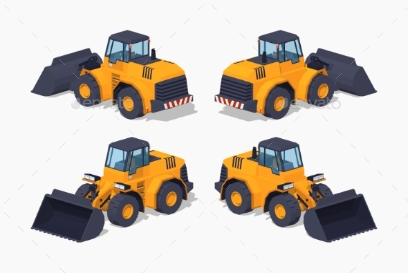 Low Poly Yellow Heavy Bulldozer - Man-made Objects Objects