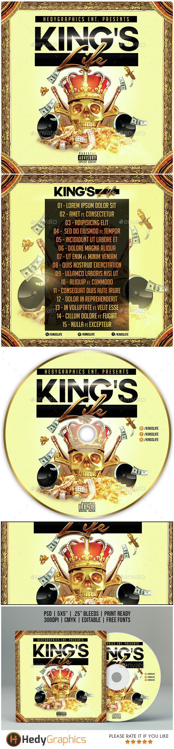 King's Life - Cd Cover Artwork - CD & DVD Artwork Print Templates