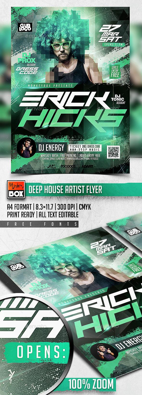 Deep House Artist Flyer - Clubs & Parties Events
