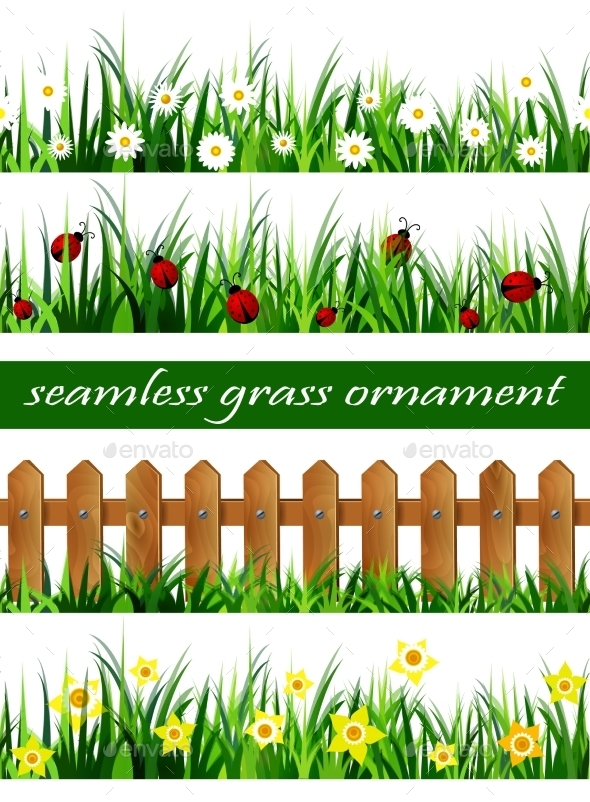 Big Green Grass Seamless Set - Flowers & Plants Nature