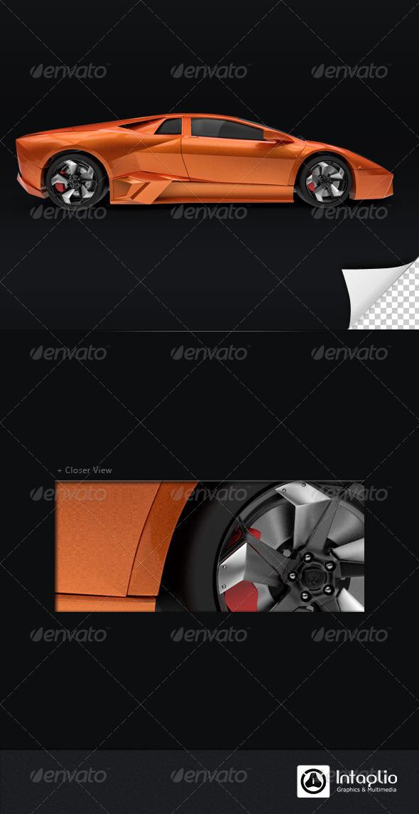 Orange Car 3D Render 001 - Technology 3D Renders