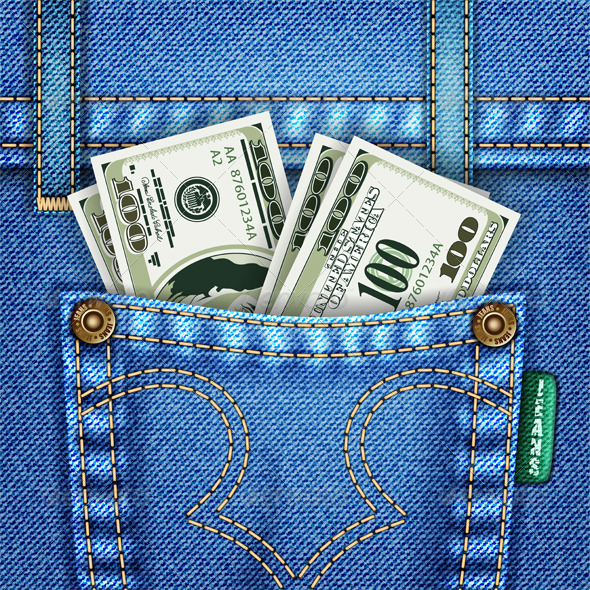 Jeans Pocket with Dollar Bills - Concepts Business
