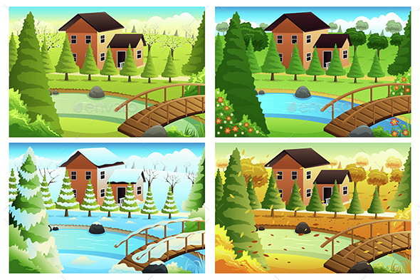 Village in Four Seasons - Nature Conceptual
