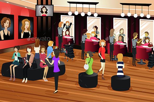Hair Salon Scene - People Characters