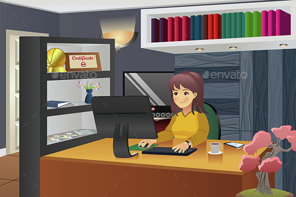 Female Programmer Working at Home - People Characters