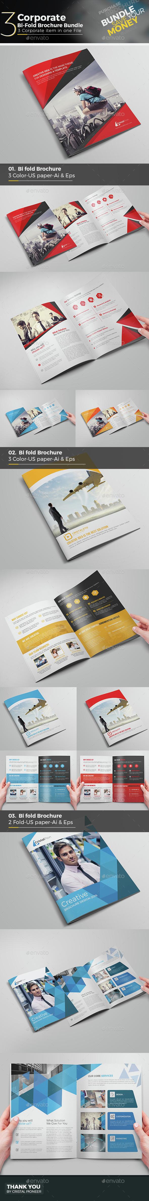 Bi Fold Brochure Bundle 3 in 1 - Corporate Brochures