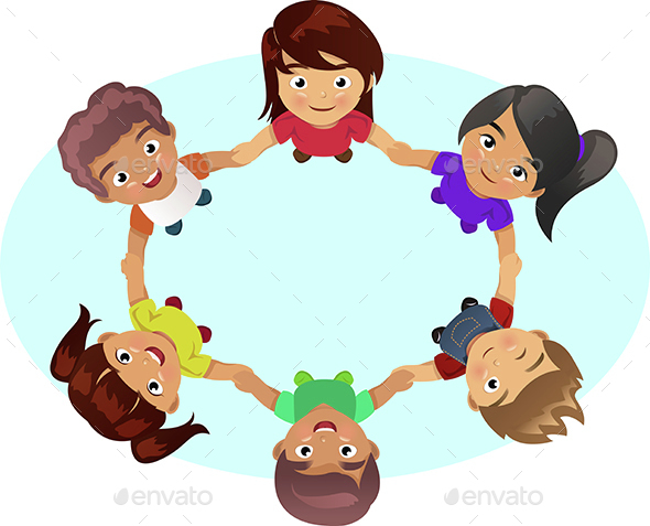 Multi-ethnic Kids Holding Hands - People Characters