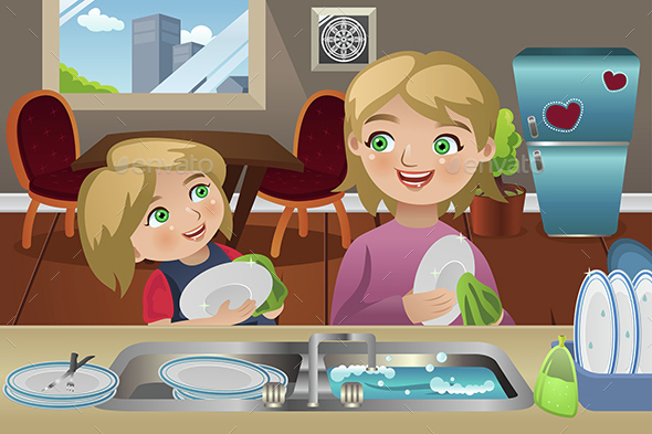 Mother Daughter Washing Dishes - People Characters