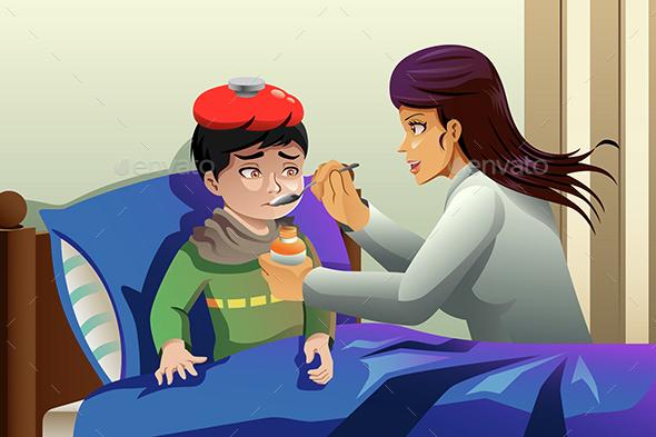 Kid Taking Medicine - Health/Medicine Conceptual