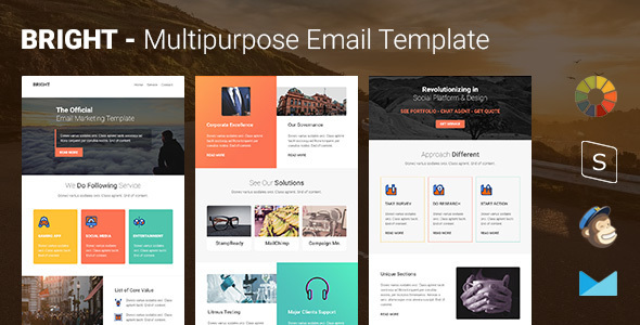 Bright - Multipurpose Responsive Email Template with Online Stampready & Mailchimp Builders Access by pennyblack