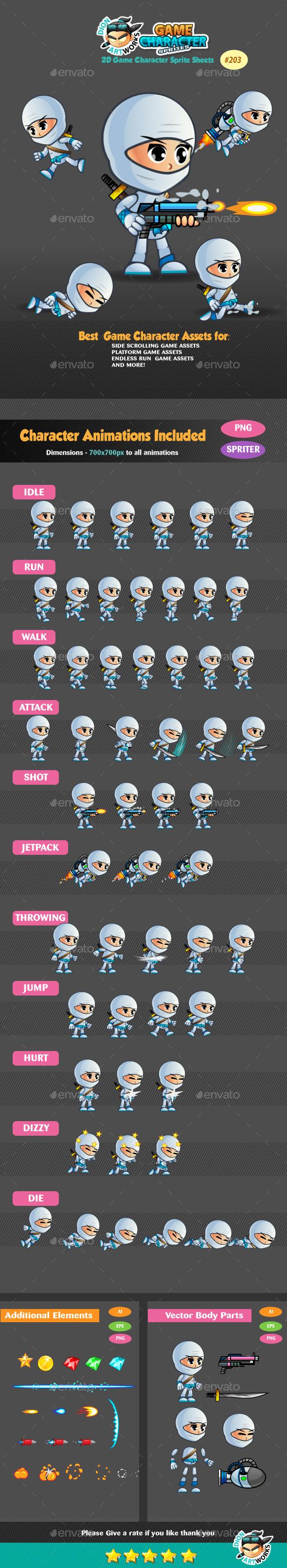 White Girl Ninja 2D Game Character Sprites - Sprites Game Assets