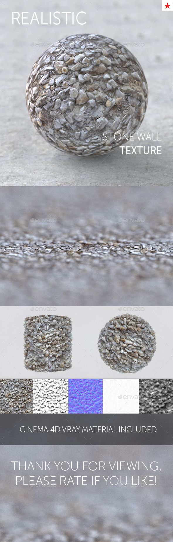 Stone wall seamless realistic texture - 3DOcean Item for Sale