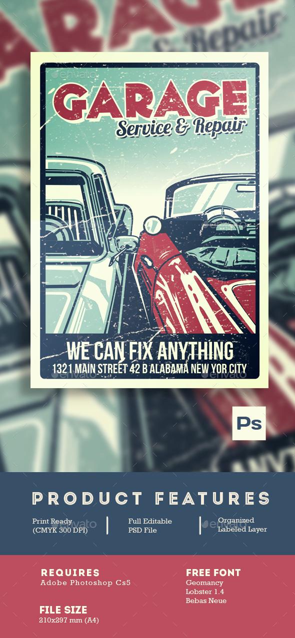 Garage Car Service & Repair - Flyers Print Templates