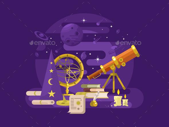 Astronomy Design Retro - Objects Vectors