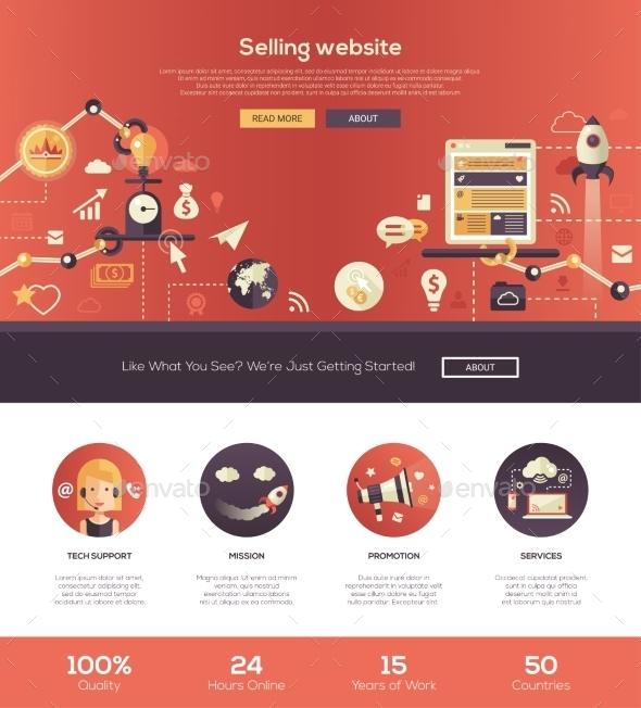 Flat Design Selling Website Header Banner - Web Technology