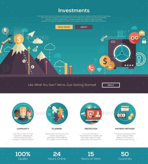 Flat Design Investments Website Header Banner - Web Elements Vectors
