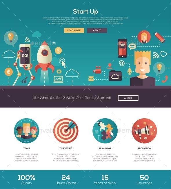 Flat Design Start Up Website Header Banner - Web Technology