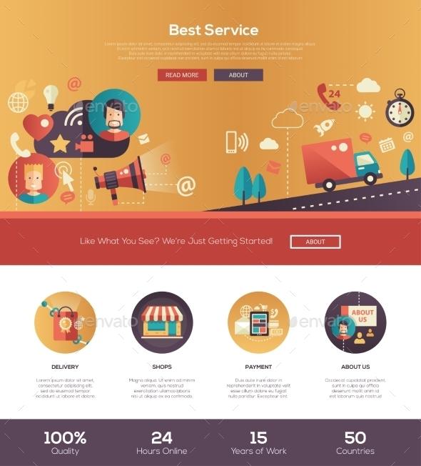 Flat Design Service Website Header Banner - Web Elements Vectors