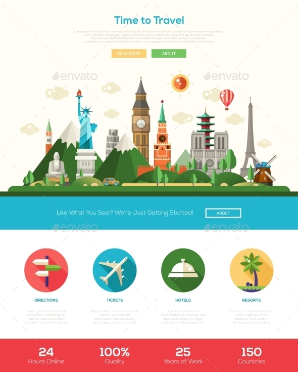 Flat Design Travel Website Header Banner - Web Elements Vectors