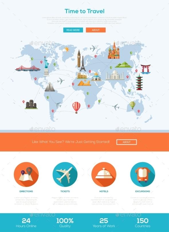Flat Design Travel Website Header Banner - Travel Conceptual