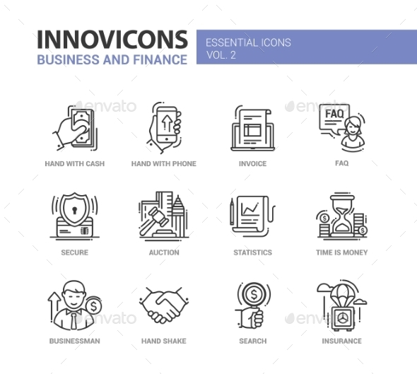 Modern Office And Business Line Flat Design Icons - Concepts Business