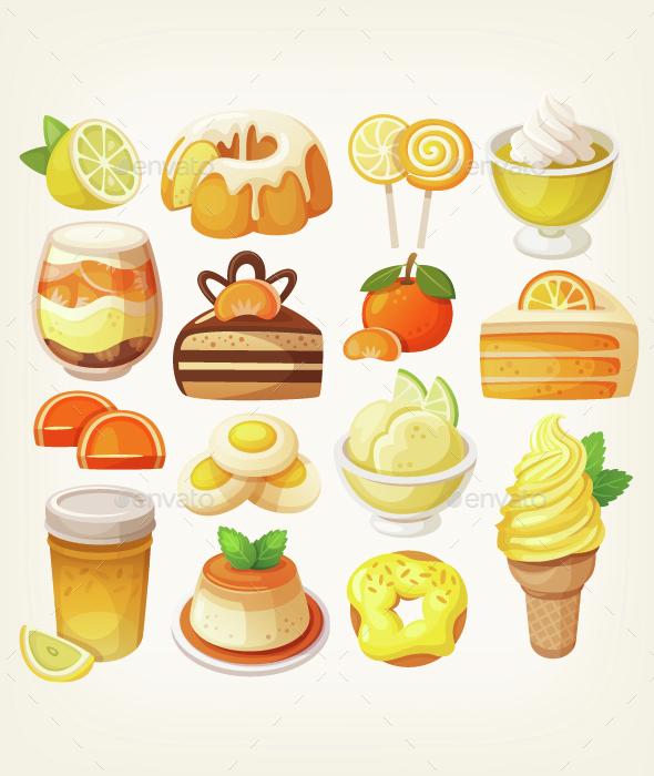 Colorful Lemon and Orange Desserts - Food Objects
