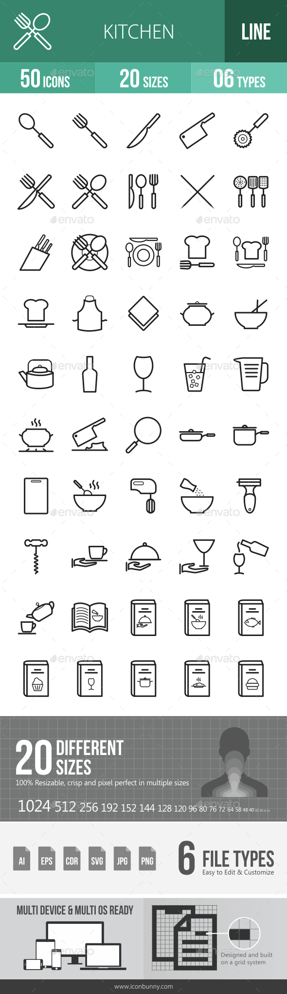 Kitchen Line Icons - Icons