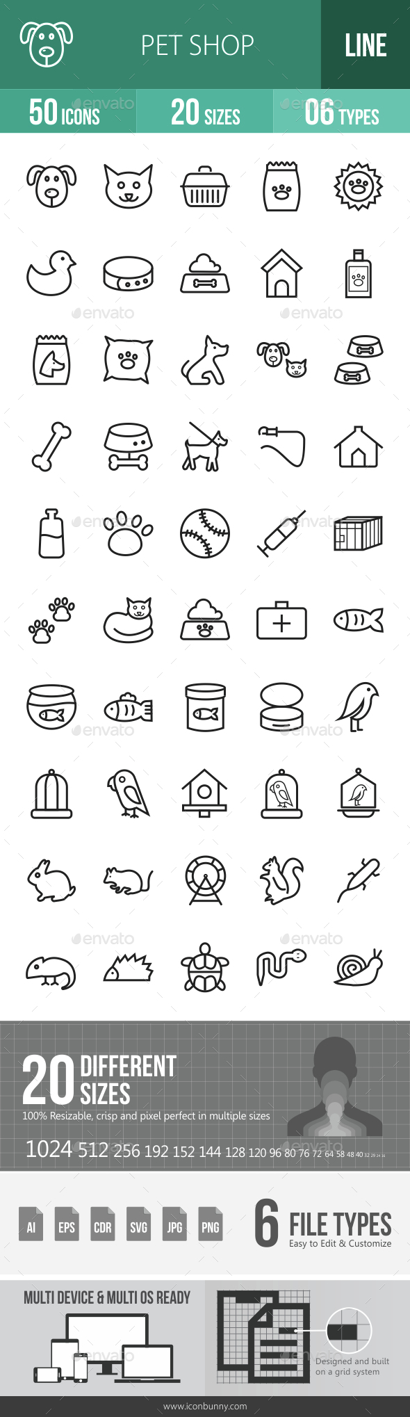 Pet Shop Line Icons - Icons