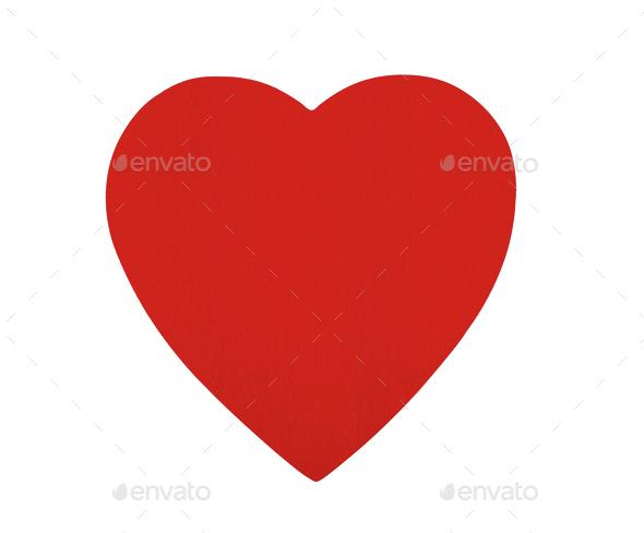 Red felt heart isolated on white background - Stock Photo - Images