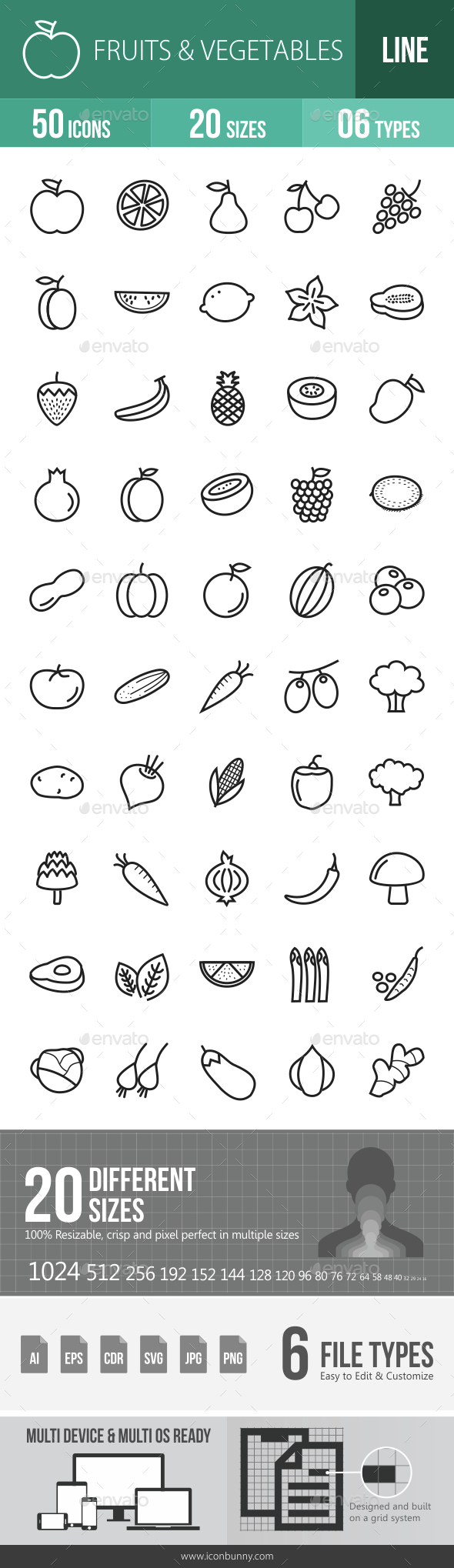 Fruits & Vegetables Line Icons - Icons
