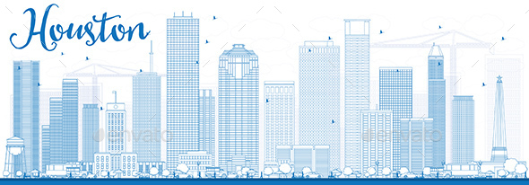 Outline Houston Skyline with Blue Buildings. - Buildings Objects