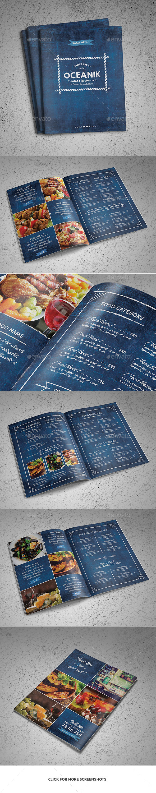 Oceanik Restaurant Menu - 8 Pages - Food Menus Print Templates