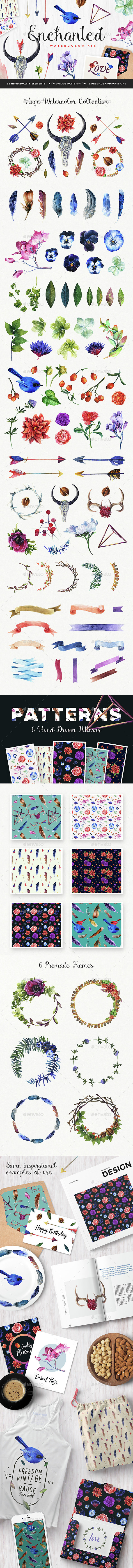 Enchanted Watercolor Kit - Decorative Graphics