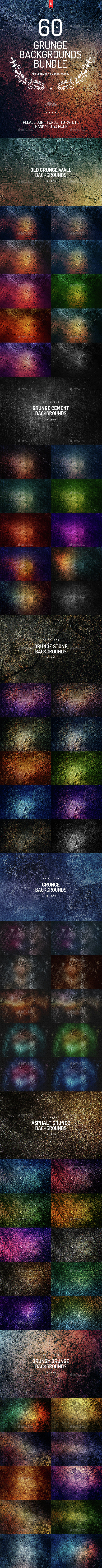 60 Grunge Backgrounds Bundle - Urban Backgrounds