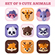 Set of nine cute animals flat icons - GraphicRiver Item for Sale