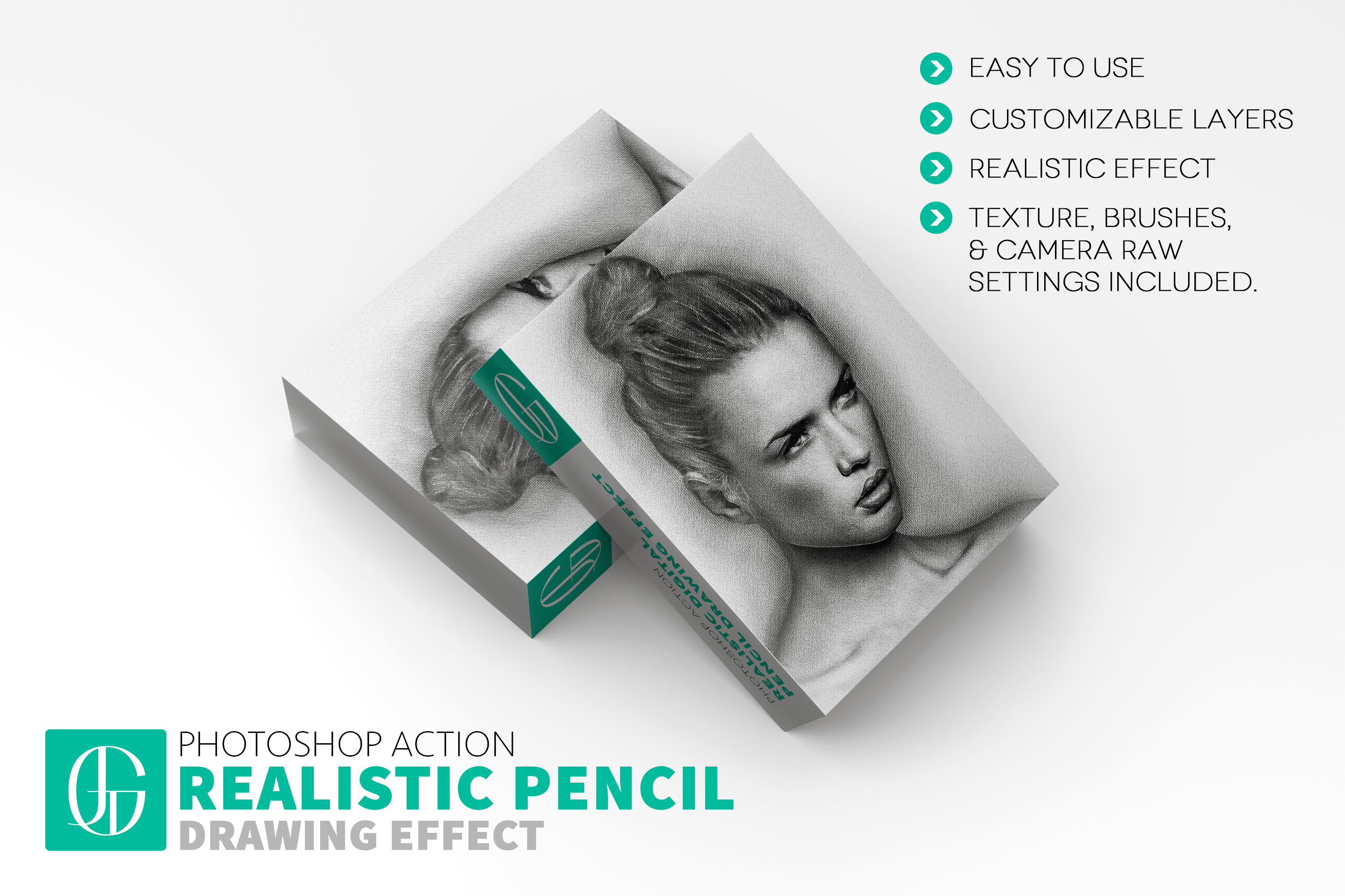 Realistic digital pencil drawing hand drawn photoshop effect action