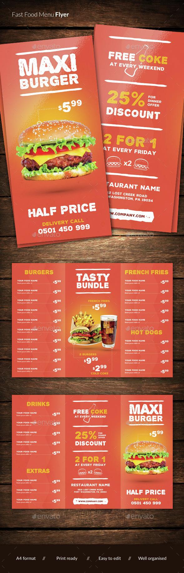 Fast food restaurant menu - Food Menus Print Templates