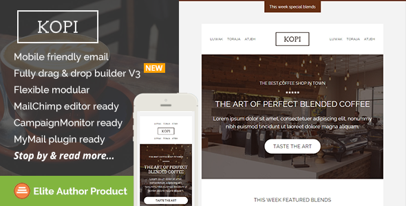 Kopi, Restaurant Email Template + Builder Access - Newsletters Email Templates