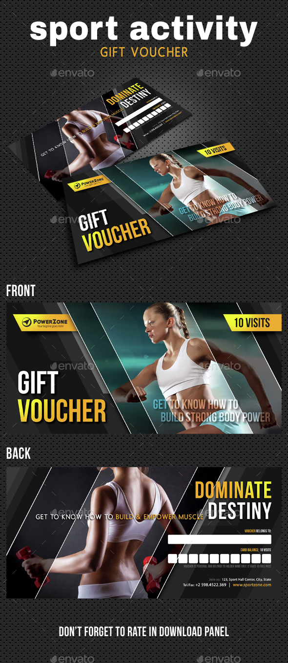 Sport Activity Gift Voucher 07 - Cards & Invites Print Templates