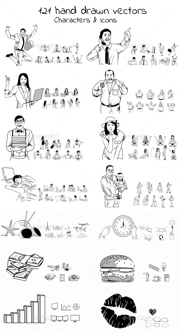 121 Hand Drawn Vectors - People Characters