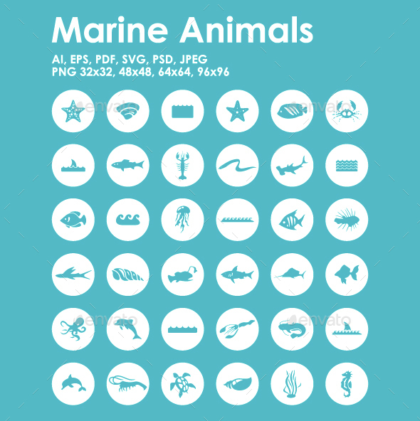 36 Marine Animals icons - Animals Characters