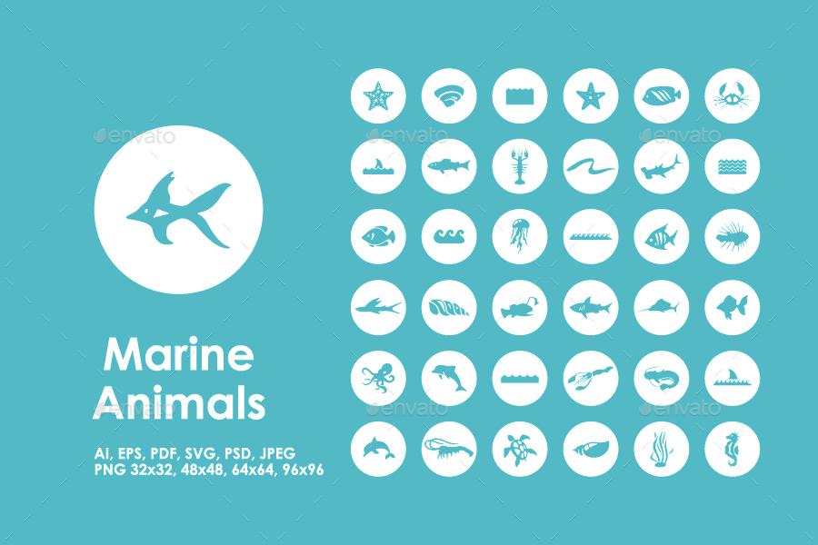 36 Marine Animals icons
