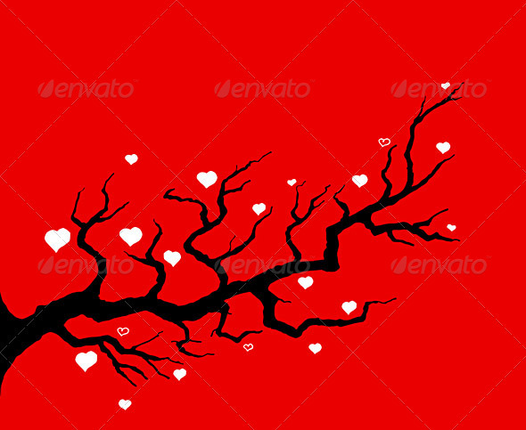 Red Cherry Tree Illustration - Valentines Seasons/Holidays