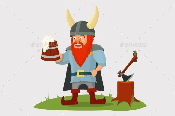 Cartoon Viking with Beer Mug in Hand - People Characters