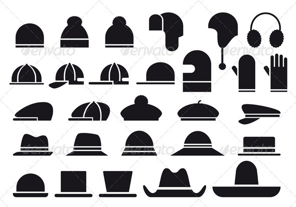 Various Vector Hats - Man-made Objects Objects