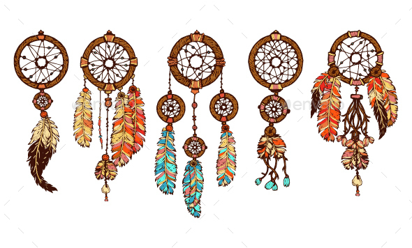 Set of 5 Colored Dream Catchers - Man-made Objects Objects