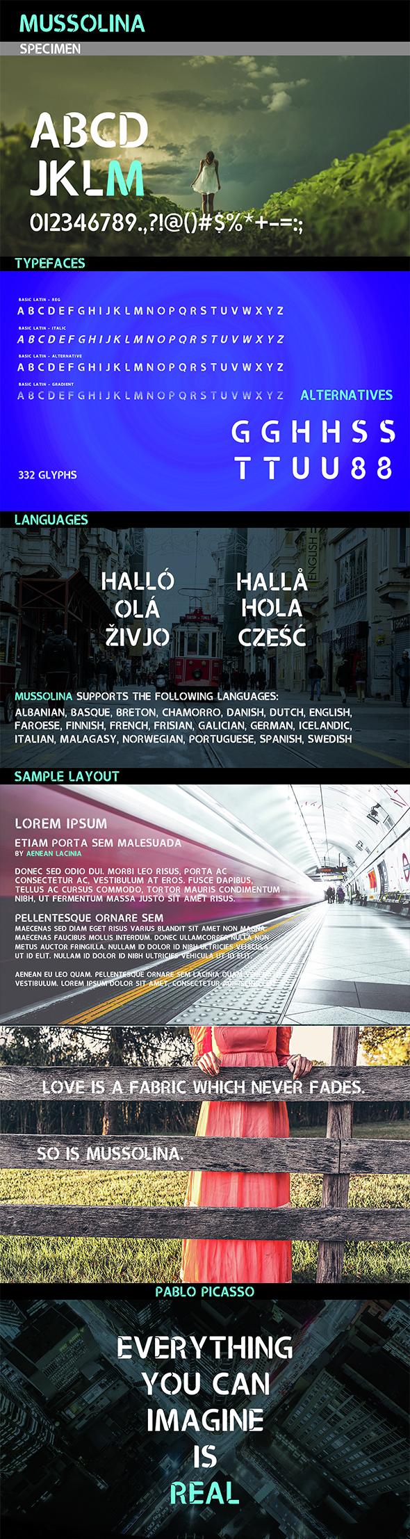 Mussolina Font - Sans-Serif Fonts