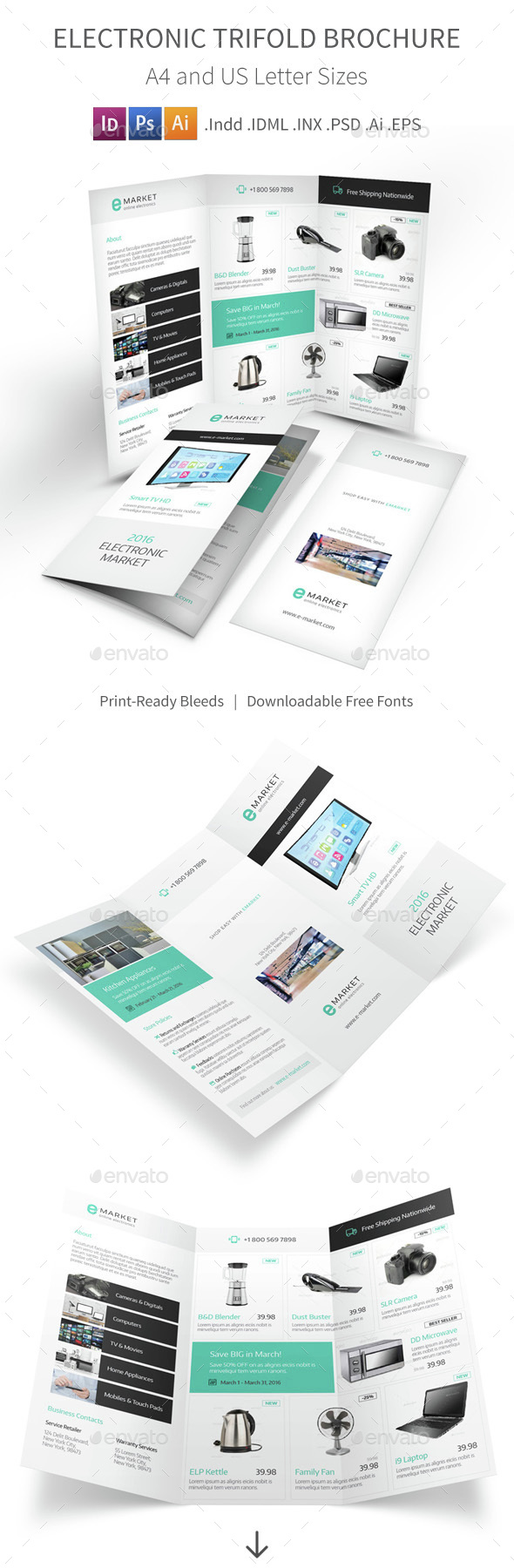 Electronic Store Trifold Brochure - Informational Brochures