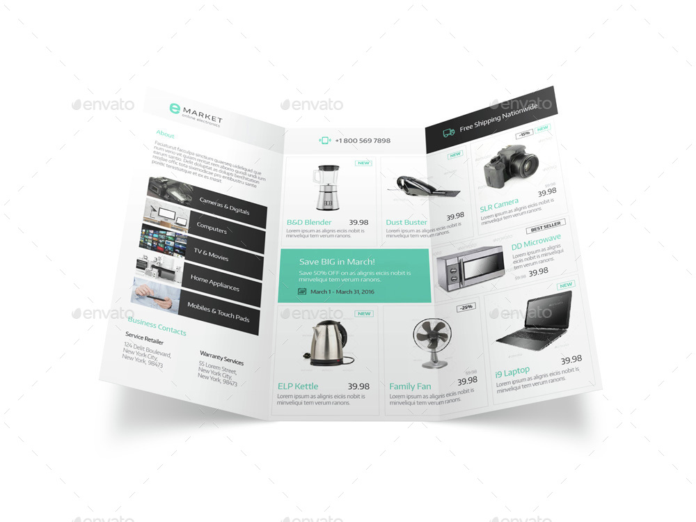 Electronic Store Trifold Brochure by Mike_pantone | GraphicRiver
