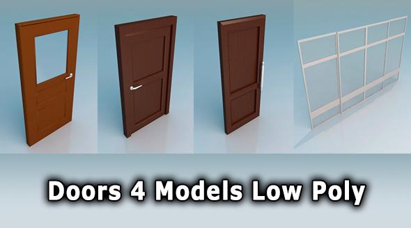 Doors Low Poly - 3DOcean Item for Sale